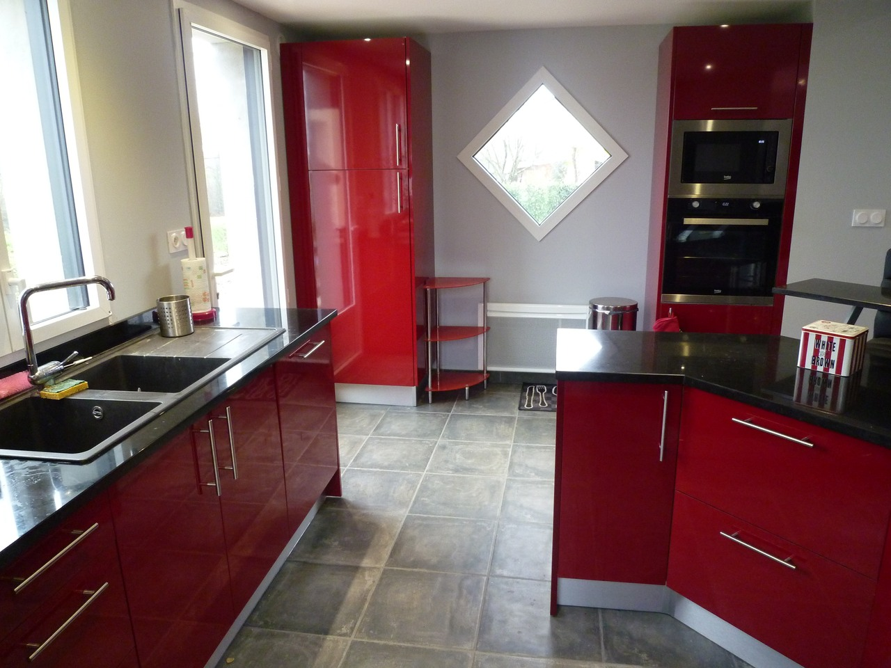 Meuble haut cuisine rouge laqu meuble haut cuisine 1 - Meuble cuisine rouge et gris ...